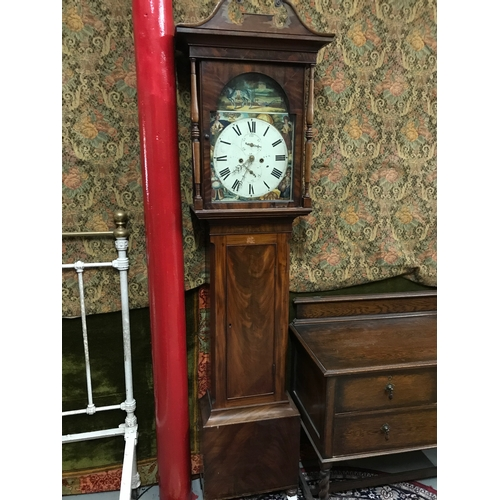 404 - A Victorian Scottish long cased grandfather clock, beautifully enamel painted 4 season face. Needs w...