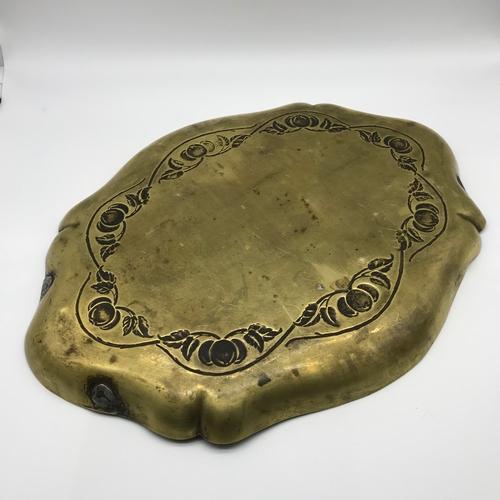 105 - A Solid brass Art Nouveau serving tray by J.S & S, Joseph Sankey. Measures 2x39x29.5cm...