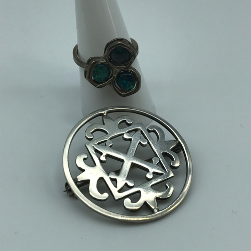 7 - An Ortak silversmith silver brooch together with an 835 silver ladies ring set with 3 opal stones. R...