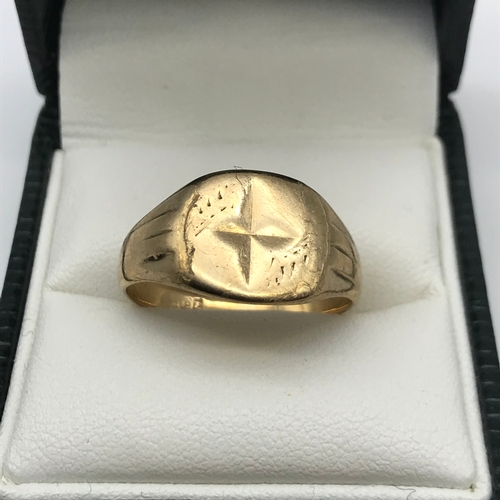19 - A Birmingham 9ct gold gents signet ring, size Q, Weighs 4.23grams...