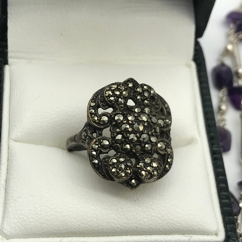 30 - A quantity of silver jewellery which includes Vintage Sterling Silver and Marcasite ring & Sterling ...