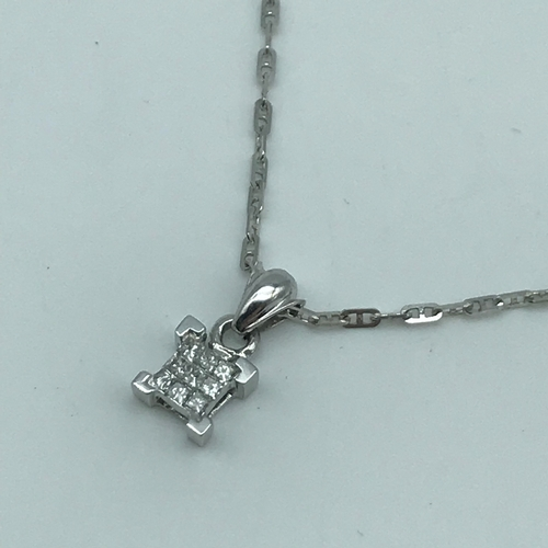 31 - An 18ct white gold necklace together with 9ct white gold and diamond pendant. Total weight 2.55grams...