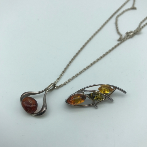 40 - 835s silver and amber pendant with silver chain together with silver 925 and amber brooch....