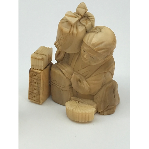 63 - A Lot of two 19th century Meiji period hand carved netsuke figures, Tallest measures 4.5cm in height...
