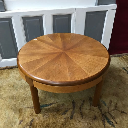 10a - A Mid Century teak round side table/ coffee table. Measures 41cm in height & 71cm in diameter...