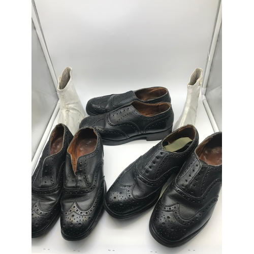 204 - A Lot of three pairs of military brogues, size 5,7 & 7, Together with shoe cuffs...