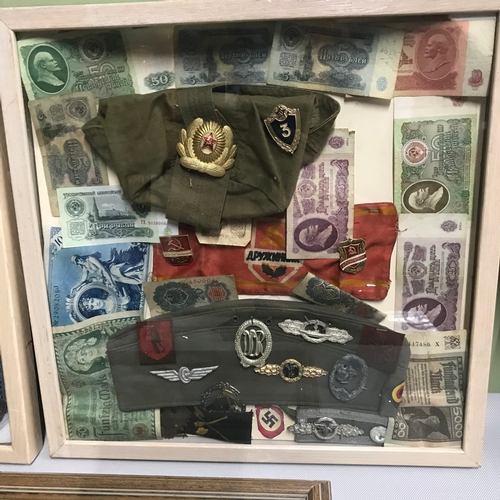 215 - A Lot of military items, includes a selection of Russian military badges, belt buckle, epaulettes & ...