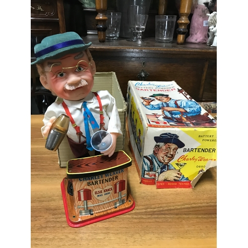 493 - Charley Weaver battery powered Bartender by Rosko Toys 1962. Comes with original box....