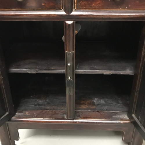 15A - Antique Chinese two drawer, two door cabinet, Measures 82x97x45cm...