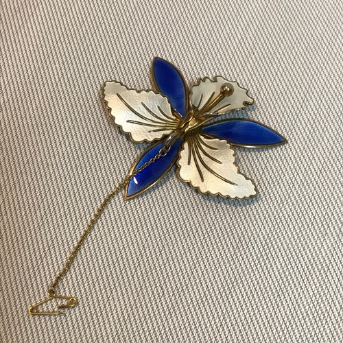 1 - Sterling silver and enamel Norwegian brooch, designed as an orchid flower. Impressed mark to the bac...