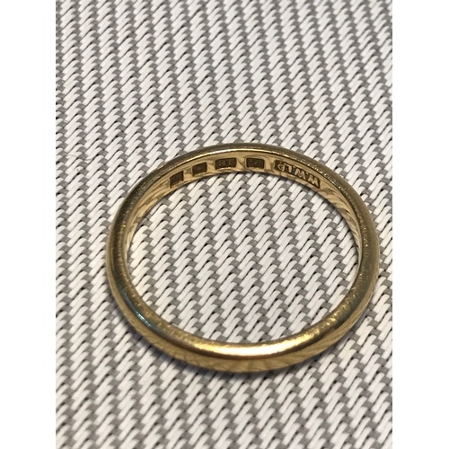 4 - 18ct gold wedding band, Ring size M, Weighs 2.97grams...
