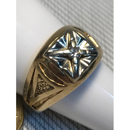 6 - A Gents 10ct gold heavy ring set with single diamond .12ct stone. Ring size Q, Weighs 8.04grams...