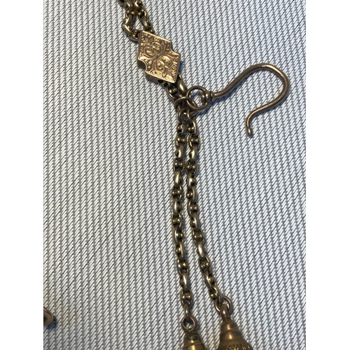 8 - A Victorian 9ct gold gents Albert watch chain, Fitted with two yellow metal tassels, Measures 39cm i...
