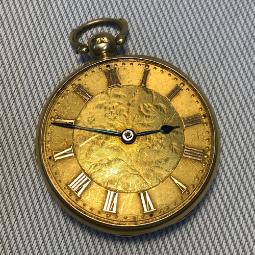 9 - 18ct gold gents Fusee pocket watch, Non Runner. No glass front, Weighs 61.14...