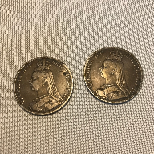 10 - A Lot of two Queen Victoria 1890 & 1891 crowns....