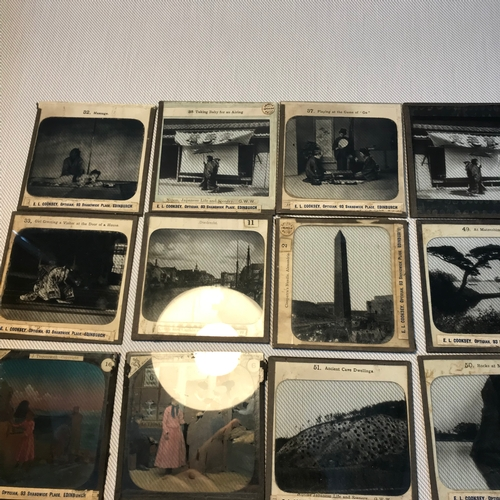 28 - A Collection of antique Magic lantern slides, 17 done in black and white and 28 done in colour...