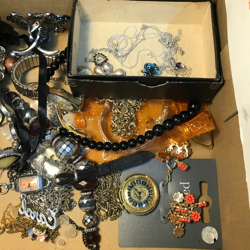 29 - A Small box containing various costume jewellery and silver jewellery....