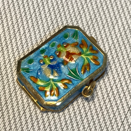 36 - Antique Chinese silver and enamel pill box, designed with two fish to each panel....