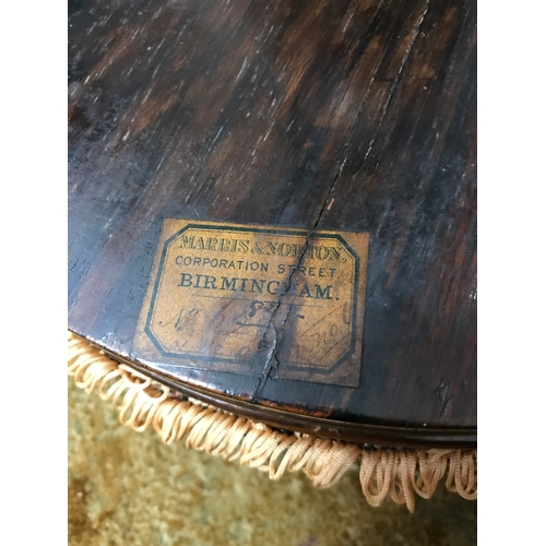 40A - A Regency rosewood swivel top rise and fall piano stool, Supported on reed legs and hoof feet. Has a...