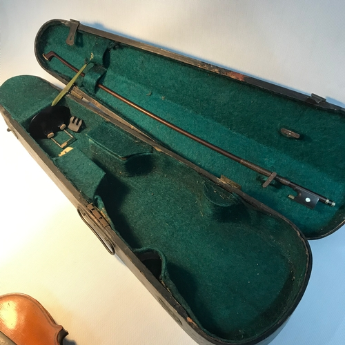 41 - Antique violin with bow & coffin carry case....