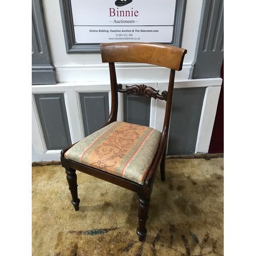 70A - A Regency parlour chair, designed with a pillow top back support and Adam style turned leg supports....