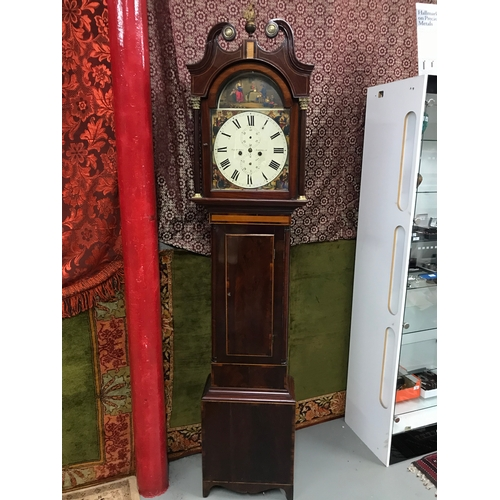 90A - A 19th century Scottish long cased grandfather clock, Hand painted face, Maker Robert Arra, Dunferml...