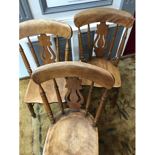 130A - A Lot of three 19th century Elm wood lath back chairs. Lovely rustic patina to each chair....