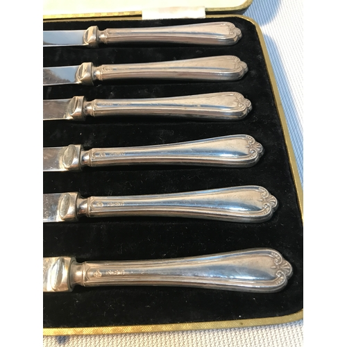54 - A Set of 6 Sheffield silver handled butter knives, Within a fitted box. Maker C H Beatson and dated ...