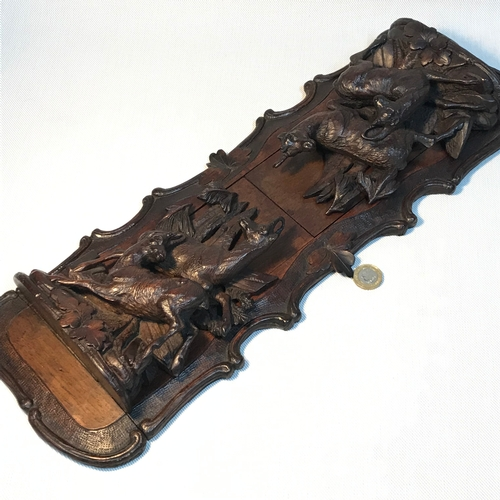 57 - A 19th century Black Forrest book slide/ ends, Beautifully hand carved featuring mountain goats. Mea...