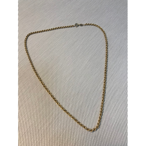 70 - A Ladies 9ct gold rope chain necklace, Weighs 2.95grams. Measures 42cm in length....