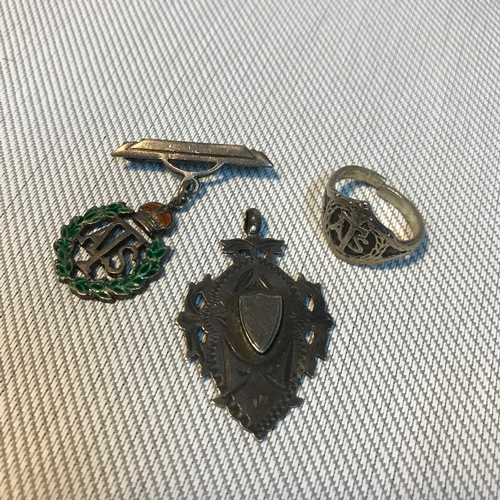 71 - A Sterling silver and enamel Auxiliary Territorial service corps brooch, Ring & Birmingham silver fo...