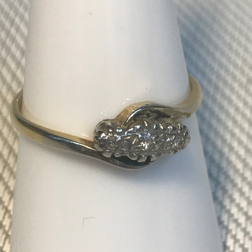 82 - 18ct gold, Platinum and diamond ring, ring size O1/2. Weighs 2.17grams...