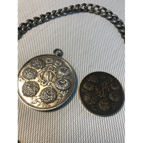 86 - Heavy silver Albert chain together with a silver National Chrysanthemum Society medal and bronze med...