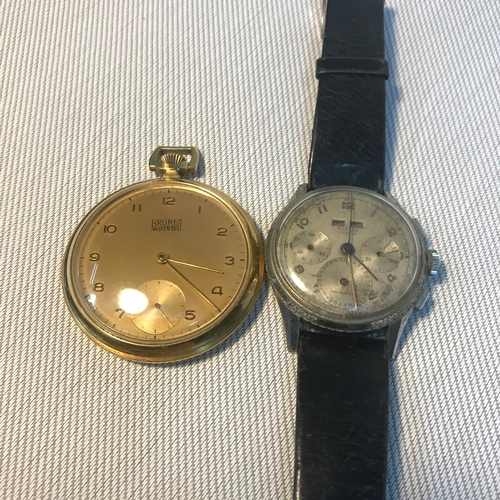 90 - A Vintage Titus Geneve gent's wrist watch in a running condition. Together with a Bruner Master Bilt...