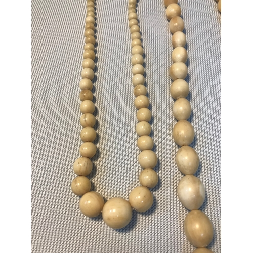 96 - A Lot of three Victorian Ivory and bone graduating bead necklaces...