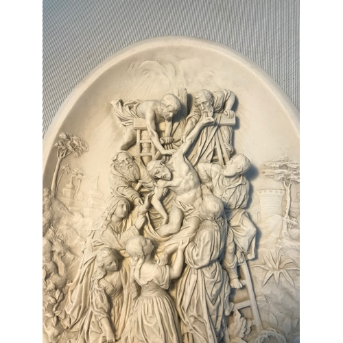 104 - A Marble wall plaque 'The death of Christ' Marble sculpture. Signed E. Cassier. Measures 30x22cm...