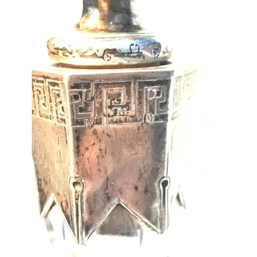 116 - A Victorian Scottish Edinburgh silver collard and stopper, cut crystal decanter, Facet neck, Maker W...