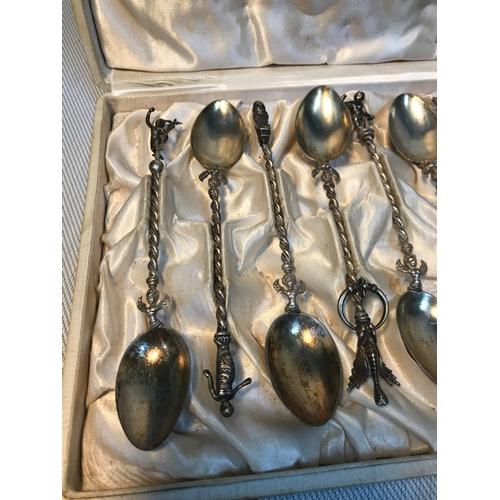 128 - A Set of 12 early 1900's G. Boncinelli & Figli Gioiellieri Firenze 800 grade silver ornate tea spoon...