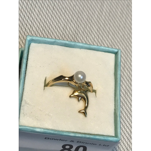 80 - A Ladies 10ct gold ring set with a single pearl together with an 18ct gold dolphin pendant....
