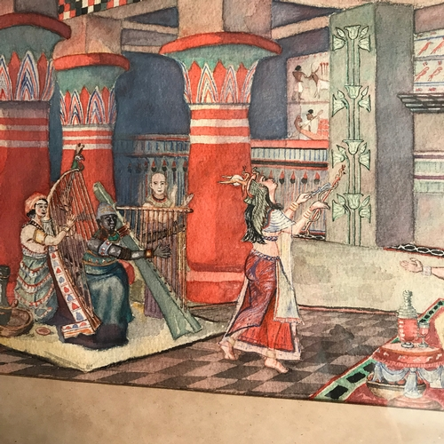 40B - Original watercolour depicting Egyptian dancer entertaining the Dignitaries. No signature. Frame mea...