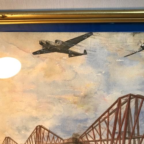10B - Original watercolour of the fourth rail bridge during WW2 bombing raids. Frame measures 49x74cm...