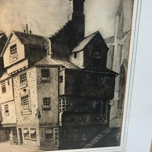20B - Original etching of John Knox's house. Gilt frame measures 43x52cm...