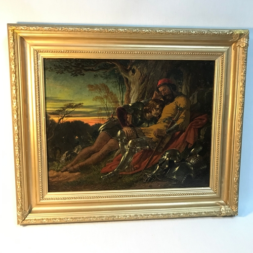 25B - An 18th/19th century oil painting of a knight and squire sleeping under a tree. Beautifully detailed...