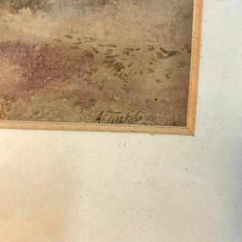 50B - A Tucker  Original watercolour depicting highland landscape. Gilt frame measures 35x42cm...