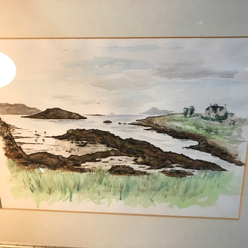 60B - Original watercolour depicting sea, coastal landscape, Gilt frame measures 44x54cm...