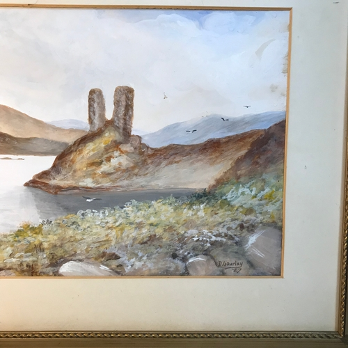 65B - D.Gourlay  Original watercolour depicting loch and highland scene landscape, Dated 1927, Gilt frame ...