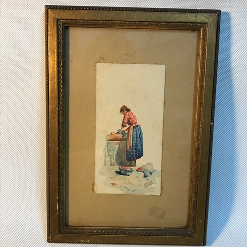80B - A Small 19th century watercolour depicting a women washing clothes. Gilt frame measures 26x18cm...