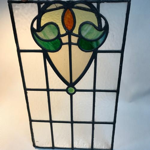 85B - Antique stain glass window panel, Measures 59x34cm...