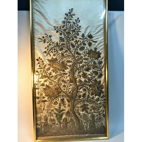 100B - Antique Indian embroidery on silk depicting a tall tree with large flowers, All designed with gold w...