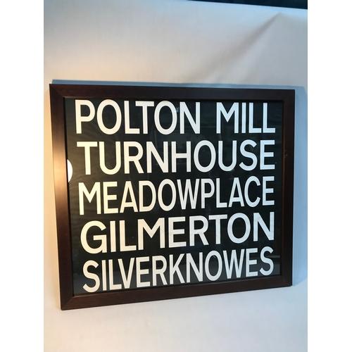 105B - Original 1980's Edinburgh bus destination scroll framed. Polton Mill, Turnhouse, Meadowplace, Gilmer...